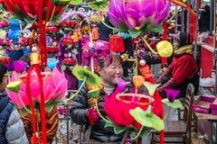 Просмотр Нового Года фестиваля фонарика виска Конфуция стоковые фото