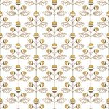Простая безшовная картина при жолудь и листья сделанные в линии стиле Стоковые Изображения