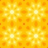 Простая безшовная текстура с желтой звездой или листьями цветка и апельсина Стоковое Изображение RF