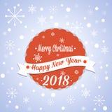 Простая винтажная ретро рождественская открытка 2018 Стоковая Фотография RF