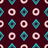 Простая геометрическая безшовная картина с повторять круги и косоугольники нарисованные вручную с грубой щеткой бесплатная иллюстрация