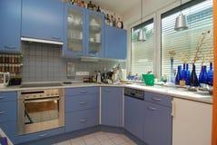 Простая голубая кухня Стоковая Фотография