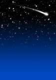 Простая голубая предпосылка неба звездной ночи с кабелем падающей звезды Стоковая Фотография RF