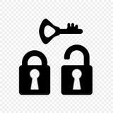 Простая замка monochrome, открытый и закрытый с ключом, значком Элементы на изолированной прозрачной предпосылке иллюстрация вектора