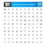 Простая линия значки для веб-дизайна и передвижного ui Стоковые Фото