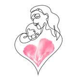 Простая линия искусство матери держа ее младенца Стоковые Фотографии RF