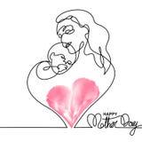 Простая линия искусство матери держа ее младенца Стоковое Изображение RF