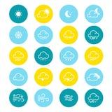 Простая линия комплект значка погоды также вектор иллюстрации притяжки corel Символ метеорологии Стоковые Изображения