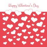 Простая карточка валентинок с белыми сердцами вектор Стоковое фото RF