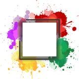 Простая квадратная рамка с предпосылкой выплеска акварели стоковая фотография