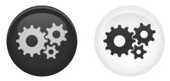 Простая кнопка установок 3d Символ колеса шестерней/Cog в круге dar иллюстрация вектора