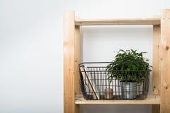 Простая минималистская мебель, деревянная полка Стоковые Фотографии RF