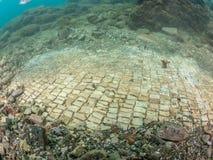 Простая мозаика в императоре Claudio's Ninfeum подводный, archeo стоковые фото