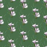 Простая предпосылка с цветочным узором Зеленая текстура, орнаментирует для того чтобы украсить ткани, плитки и бумагу и обои на с иллюстрация штока