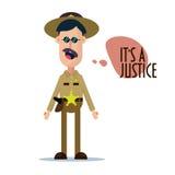 Простая плоская иллюстрация стиля дизайна характера шерифа смешного Стоковое фото RF