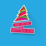 Простая рождественская открытка и приветствия Нового Года иллюстрация Стоковое Изображение