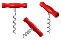 Простая связь руки вектора для раскупоривать бутылки вина, с красной ручкой, в 3 положениях Стоковая Фотография