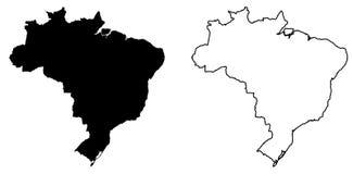 Простая только острая карта углов чертежа вектора Бразилии заполнено бесплатная иллюстрация