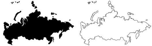 Простая только острая карта углов чертежа вектора России заполнено иллюстрация вектора