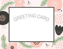 Простая флористическая поздравительная открытка при абстрактная нарисованная рука цветет бесплатная иллюстрация