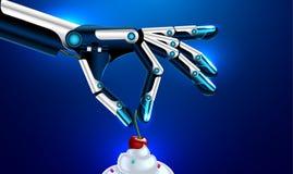 Простетические рука или оружия кладут вишню на торт Стоковая Фотография RF