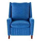 Простое голубое изолированное кресло Вид спереди 3d Стоковое Изображение