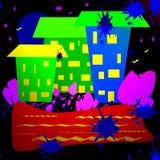 Простое изображение города ночи бесплатная иллюстрация