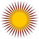 Простое плоское зажим-искусство солнца, значок солнца с нервной короной иллюстрация вектора