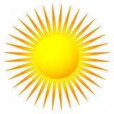 Простое плоское зажим-искусство солнца, значок солнца с нервной короной иллюстрация штока