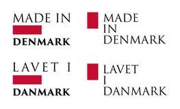 Простое сделанное в переводе l Дании/Lavet i Danmark датском иллюстрация штока