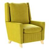 Простое скандинавское кресло желтого цвета стиля с деревянными ногами мебель мягкая 3d представляют Стоковые Изображения