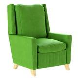Простое скандинавское кресло зеленого цвета стиля с деревянными ногами мебель мягкая 3d представляют Стоковое фото RF