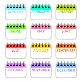 Простое собрание значков календарных месяцев стоковое фото rf