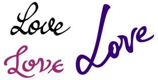 Простое слово & x22; love& x22; Первоначально изготовленная на заказ литерность руки Стоковые Фотографии RF