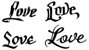 Простое слово & x22; love& x22; с сердцем для письма Первоначально изготовленная на заказ литерность руки Стоковое Фото