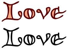 Простое слово & x22; love& x22; с сердцем для письма Первоначально изготовленная на заказ литерность руки Стоковое фото RF