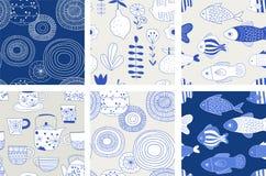 Простое, элегантное и стильное собрание современной kitchenware нарисованного рукой, японской керамики, безшовных картин иллюстрация штока