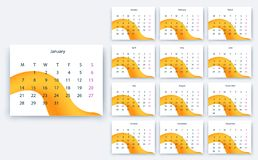 Простое yesr 2019, дизайн eps10 календаря вектора запаса стоковое изображение rf