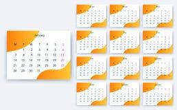 Простое yesr 2019, дизайн eps10 календаря вектора запаса стоковые изображения rf
