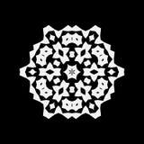 Простой белый значок снежинки изолированный на черной предпосылке Иллюстрация вектора