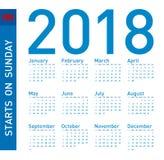 Простой голубой календарь на год 2018, неделя начинает в воскресенье Стоковое фото RF