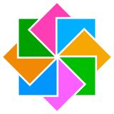Простой дизайн и красочный квадратный логотип Стоковое фото RF