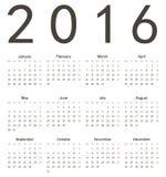 Простой европейский квадратный календарь 2016 Стоковые Изображения RF