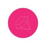 Простой значок вектора самоцвета плана Кристаллический значок Стоковая Фотография