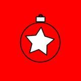 Простой значок с изображением черного шарика рождества контура дальше Стоковое Изображение RF