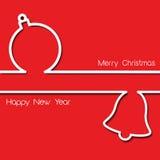 Простой дизайн рождественской открытки с безделушкой и колоколом Стоковые Фото