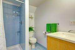 Простой интерьер ванной комнаты в свете - голубых тонах Стоковые Изображения