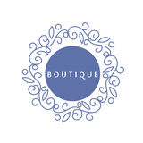 Простой и грациозно флористический шаблон дизайна вензеля, элегантный логотип lineart, иллюстрация вектора для бутика, салон Стоковое Фото