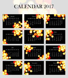 Простой и элегантный календарь на 2017 Стоковое Фото