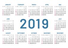 Простой карманный календарь, 2019 центр, изолированный год, плоский, иллюстрация штока
